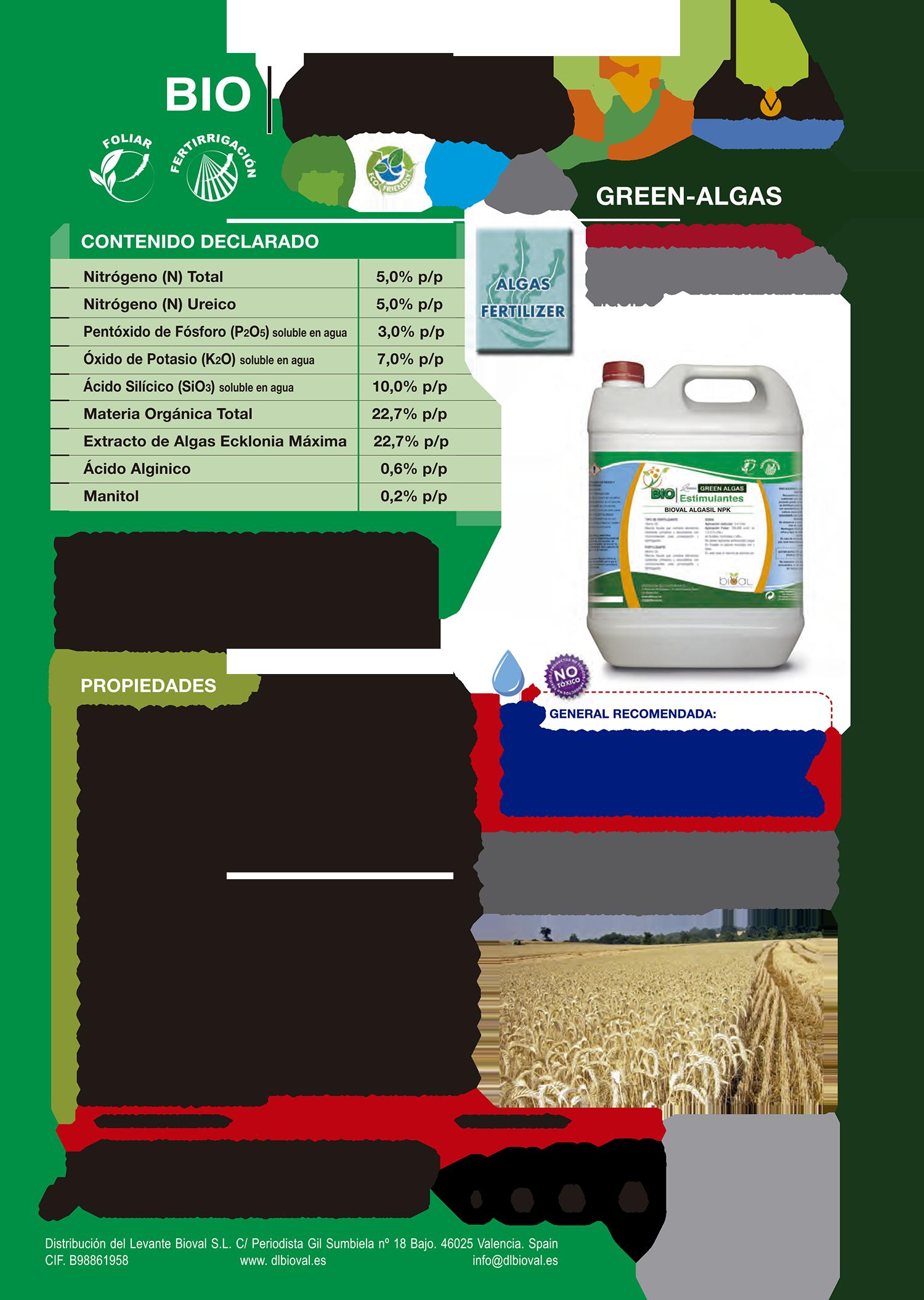 Bioval Algasil NPK 1 - Línea Green Algas